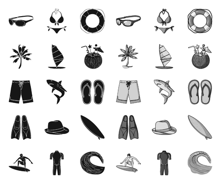 Surfing and extreme black.mono icons in set collection for design. Surfer and accessories vector symbol stock web illustration. Illustration