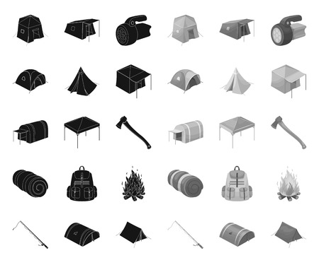 Different kinds of tents black.mono icons in set collection for design. Temporary shelter and housing vector symbol stock web illustration.