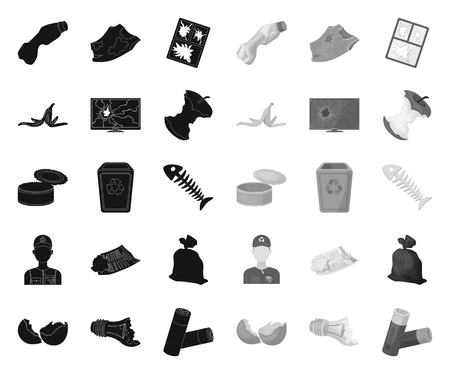 Garbage and waste black.mono icons in set collection for design. Cleaning garbage vector symbol stock web illustration.