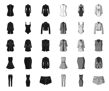 Womens Clothing black.mono icons in set collection for design.Clothing Varieties and Accessories vector symbol stock web illustration.