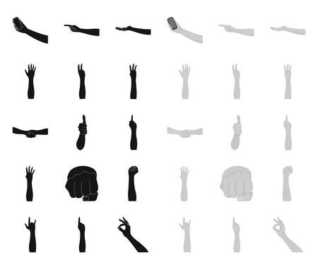 Gestures and their meaning black.mono icons in set collection for design.Emotional part of communication vector symbol stock web illustration. Stock Illustratie