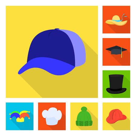 Isolated object of fashion and profession logo. Set of fashion and cap vector icon for stock. 向量圖像