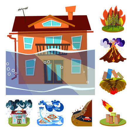 Vector design of cataclysm and disaster icon. Set of cataclysm and apocalypse vector icon for stock. Vector Illustration