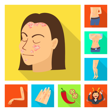 Vector design of dermatology and disease symbol. Collection of dermatology and medical  vector icon for stock.