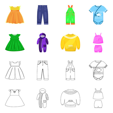 Vector design of fashion and garment icon. Collection of fashion and cotton stock vector illustration.