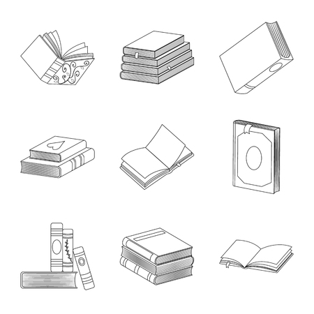 Vector design of study and literature icon. Set of study and source stock vector illustration.