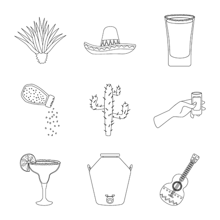 Vector illustration of Mexico and tequila logo. Set of Mexico and fiesta stock symbol for web.