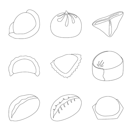 Vector illustration of food  and dish sign. Set of food  and cooking stock vector illustration.