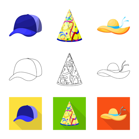 Vector illustration of clothing and cap symbol. Collection of clothing and beret stock symbol for web. Vectores