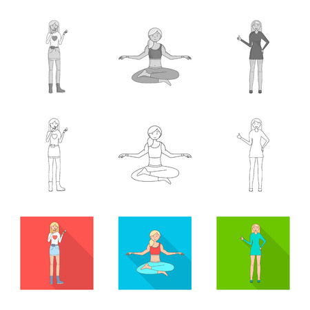 Vector illustration of posture and mood logo. Set of posture and female stock symbol for web. 向量圖像