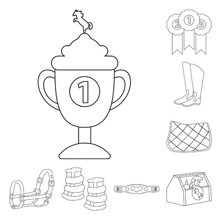 Isolated object of horseback and equestrian icon. Collection of horseback and horse stock vector illustration.