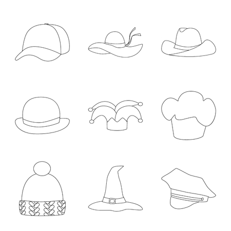 Vector illustration of headgear and napper icon. Collection of headgear and helmet stock symbol for web.