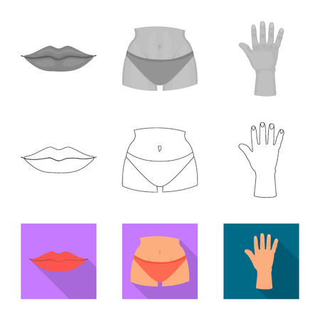 Vector illustration of body and part sign. Collection of body and anatomy vector icon for stock.