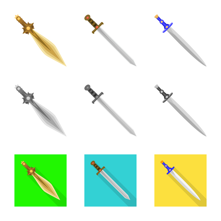 Vector illustration of game  and armor  symbol. Collection of game  and blade  stock symbol for web. Illustration