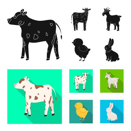 Vektor-Illustration von Zucht- und Küchenzeichen. Satz von Zucht- und Bio-Aktiensymbolen für das Web.