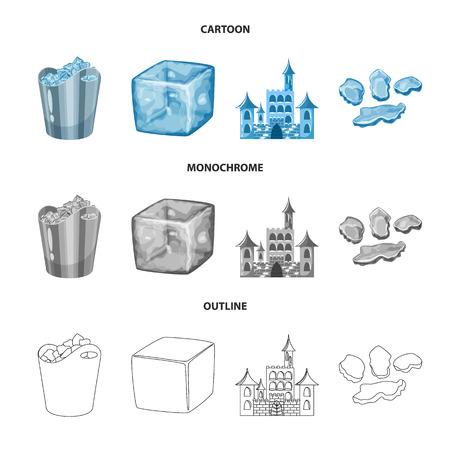 Ilustración de vector de textura e icono congelado. Colección de textura e icono de vector transparente para stock.