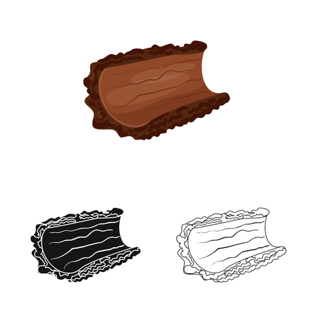 Isolated object of bark  and piece . Set of bark  and lumber  vector icon for stock. Illustration