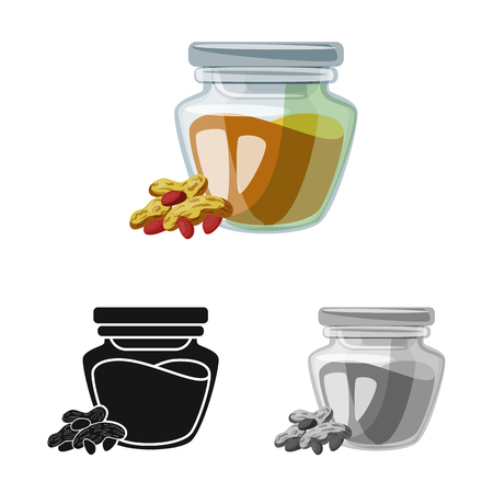 Vector design of peanut and butter  icon. Set of peanut and calcium  stock vector illustration.
