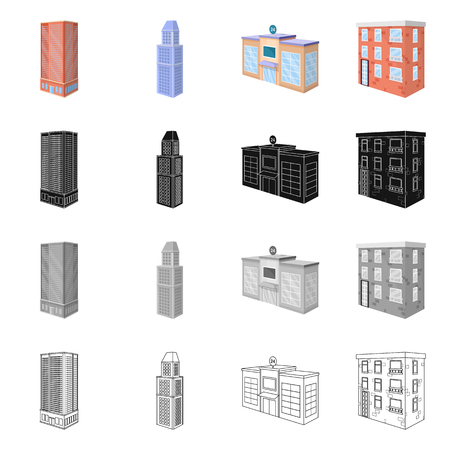 Vector design of construction and building symbol. Set of construction and estate vector icon for stock.