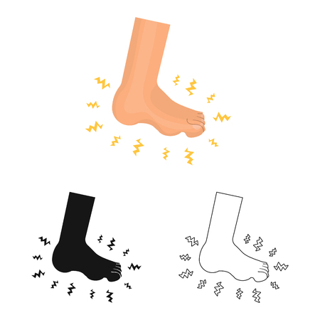 Vector design of foot  and flatfoot  . Set of foot  and anatomy  stock symbol for web.