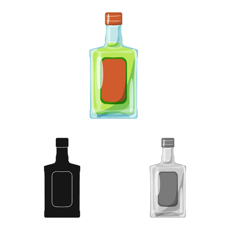 Isolated object of bottle and alcohol sign. Collection of bottle and vodka  stock vector illustration.