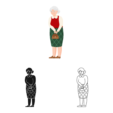 Vector illustration of grandmother  and senior  sign. Collection of grandmother  and old stock vector illustration.