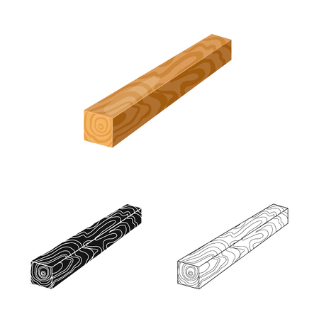 Isolated object of timber and piece icon. Collection of timber and section  stock vector illustration.