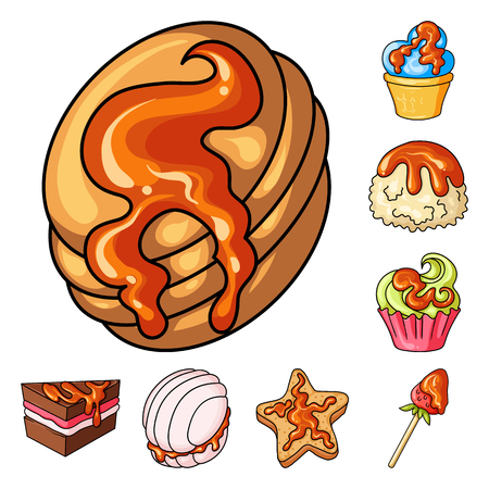 Vector illustration of dessert and sweet sign. Set of dessert and food vector icon for stock.