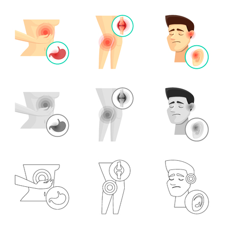 Isolated object of hospital and rendering symbol. Collection of hospital and help stock symbol for web. Illustration