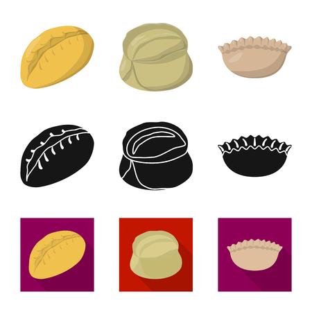 Disegno vettoriale di prodotti e simbolo di cucina. Set di prodotti e icona di vettore di antipasto per stock.