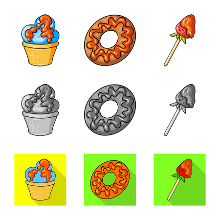 Vector illustration of confectionery and culinary logo. Collection of confectionery and product vector icon for stock.