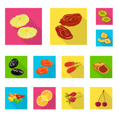 Vector illustration of fruit and dried logo. Set of fruit and food stock symbol for web.