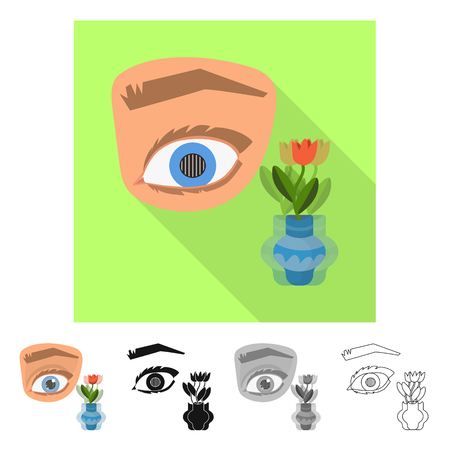 Vector illustration of eye and poor sign. Set of eye and blindness stock symbol for web.