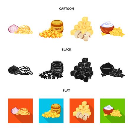 Vektordesign des Geschmacks- und Jahreszeitlogos. Satz von Geschmack und organischem Vektorsymbol für Lager. Logo