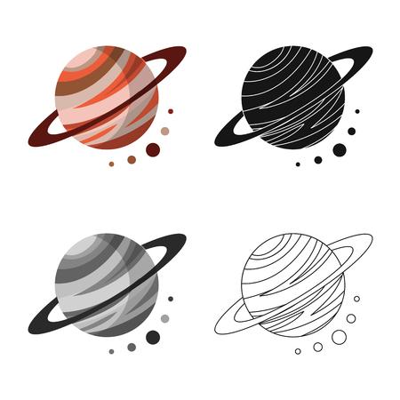 Vector illustration of planet  and system icon. Set of planet  and orbit  vector icon for stock. Illustration