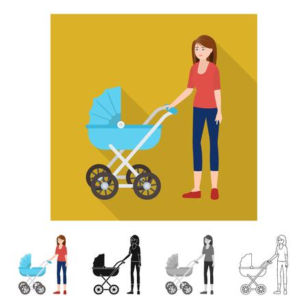 Vector illustration of mother  and pram icon. Collection of mother  and mom stock vector illustration. Иллюстрация