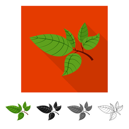 Vector illustration of tea and leaf logo. Set of tea and fresh vector icon for stock. Иллюстрация