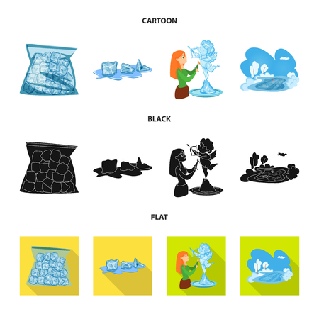 Vector illustration of texture  and frozen  icon. Set of texture  and transparent  stock symbol for web.