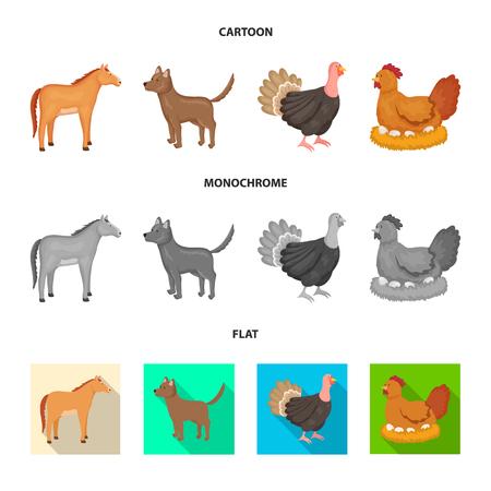 Vector illustration of breeding and kitchen  symbol. Collection of breeding and organic  stock symbol for web. Illustration