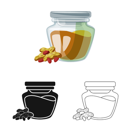 Isolated object of peanut and butter  symbol. Collection of peanut and calcium  vector icon for stock.