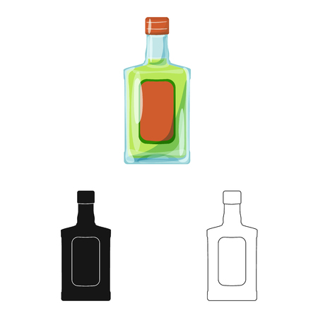 Vector design of bottle and alcohol logo. Collection of bottle and vodka  vector icon for stock.