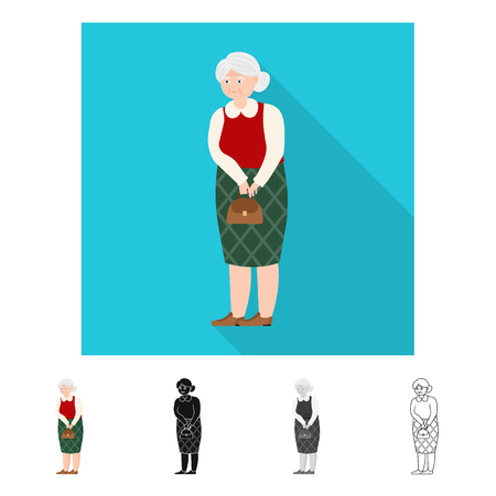 Isolated object of grandmother  and senior  symbol. Collection of grandmother  and old stock vector illustration. Reklamní fotografie - 120952958