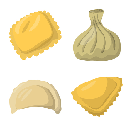 Vector illustration of dumplings and food  sign. Set of dumplings and stuffed stock symbol for web. Banque d'images - 120952976