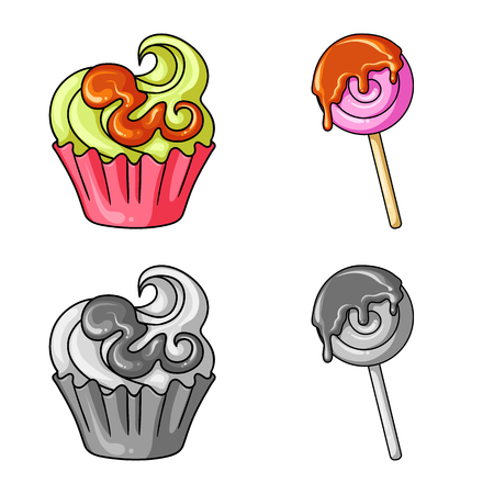 Vector illustration of confectionery and culinary sign. Collection of confectionery and product vector icon for stock. Иллюстрация