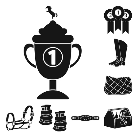 Isolated object of sport and competition icon. Collection of sport and equestrian stock vector illustration.