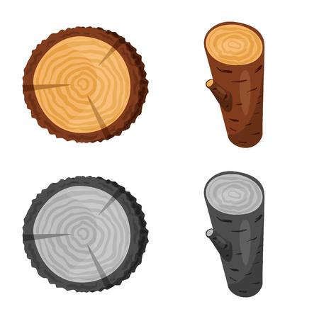Vektor-Illustration von Baum und rohem Symbol. Sammlung von Baum- und Bauvektorsymbolen für Aktien. Vektorgrafik