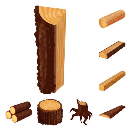 Vector design of signboard  and wood symbol. Set of signboard  and wooden stock symbol for web. Illustration