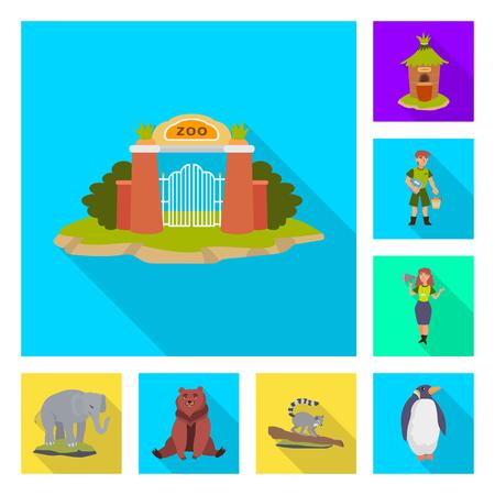 Isolated object of safari  and animal symbol. Set of safari  and fun  stock symbol for web. Çizim