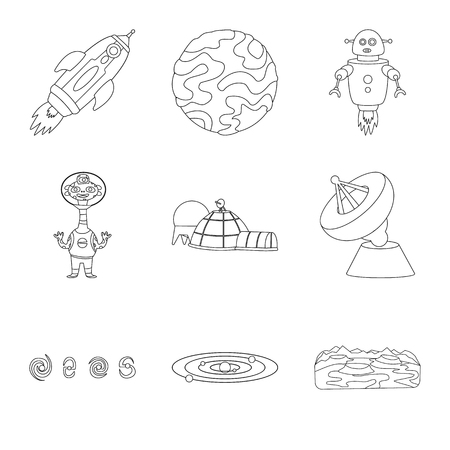 Vector illustration of space and galaxy logo. Collection of space and travels vector icon for stock.