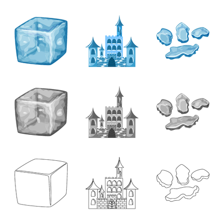 Isolated object of texture  and frozen  sign. Set of texture  and transparent  vector icon for stock. Stock Illustratie